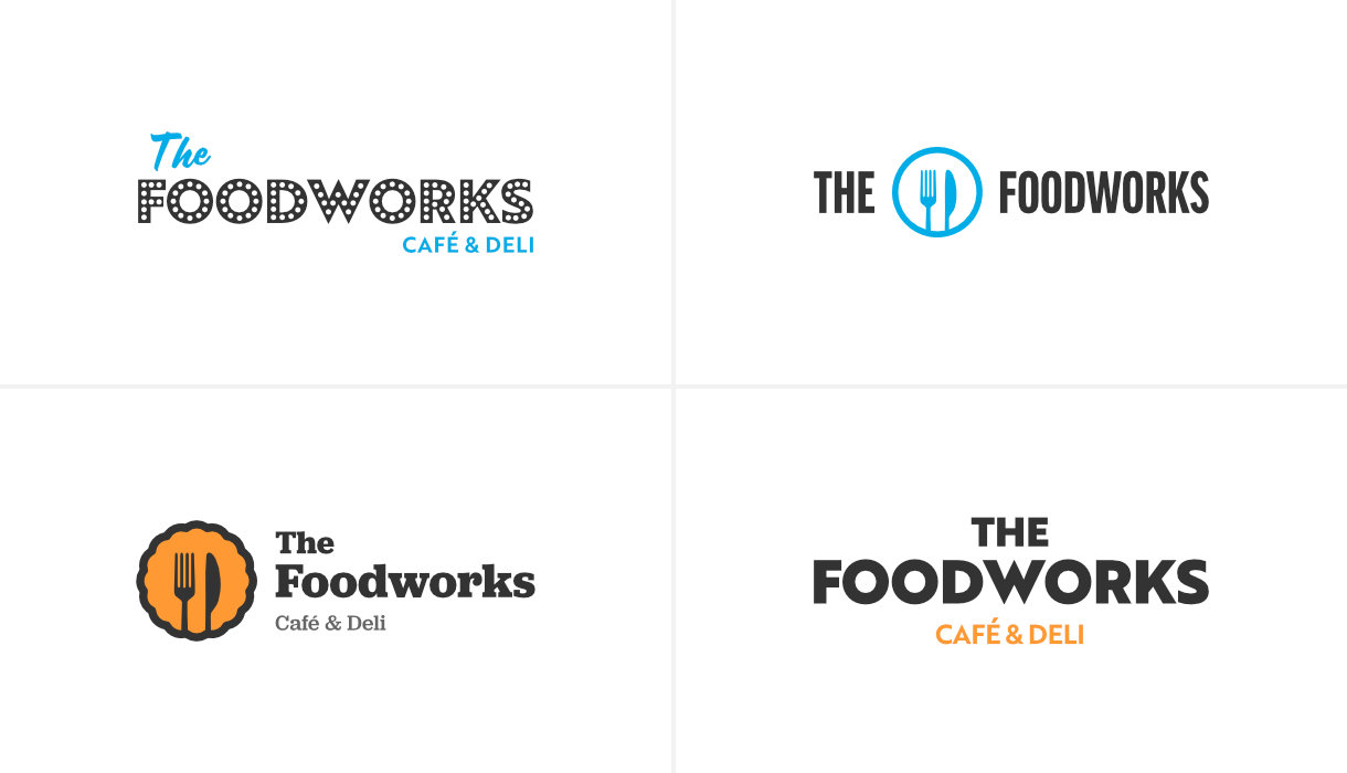 A selection of logo concepts created during the early stages of the project